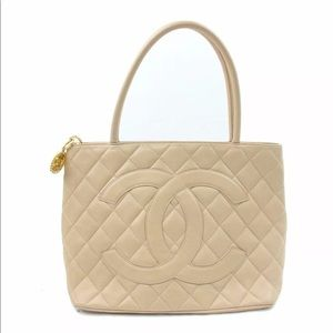 Authentic Chanel Caviar Leather Beige Tote Bag